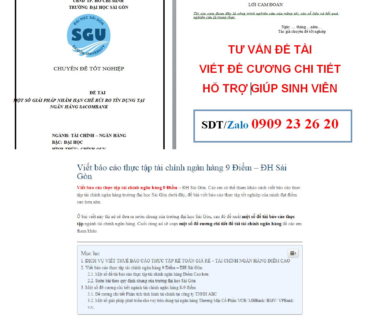 Viết báo cáo thực tập tài chính ngân hàng 9 Điểm – ĐH Sài Gòn